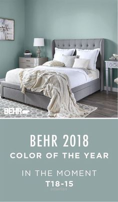 """BEHR 2018 Color of the Year. """"In The Moment"""" This soothing blue-green shade helps create a relaxing environment in this master bedroom. Pair with neutral gray and white to complement this look. Order a sample size today to test on your project. Relaxing Bedroom Colors, Relaxing Master Bedroom, Master Bedrooms, Green Master Bedroom, Blue Green Bedrooms, Master Bath, Gray Bedroom, Trendy Bedroom, Calm Colors For Bedroom"""