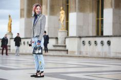 How French Girls Do Street Style For Fashion Week  #refinery29  http://www.refinery29.com/2016/03/105661/paris-fashion-week-fall-winter-2016-street-style-pictures#slide-14  Whether purchased as-is or DIY'd, embroidery can make your plain pair of jeans feel like new....