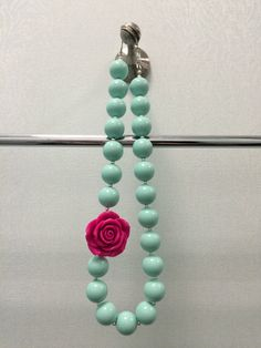Girls Chunky Necklace, Girls Bubblegum Chunky Necklace, Mint Green with Hot Pink Rosette Chunky Necklace on Etsy, $15.00