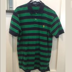 Ralph Lauren Custom Leisure Breathable Blue White Stripe Polo
