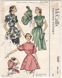 McCalls 1647 1950s Misses Make Up Smock Wave Wrap Apron