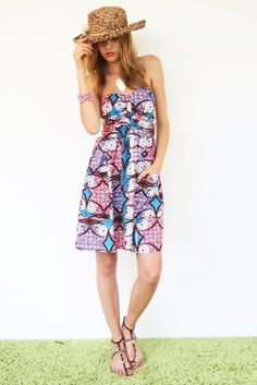 Strapless Purple Coolum Dress - I love the pattern but you know I can't be wearing a strapless dress...