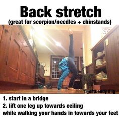 Great back stretch if you're wanting I achieve your scorpian, needle or just wanting a more flexible back! stretching tips, flexibility - Women Cheer Stretches, Gymnastics Stretches, Gymnastics Tricks, Dance Stretches, Gymnastics Workout, Scorpion Stretches, Needle Stretches, Stretching Exercises, Cheerleading Flexibility