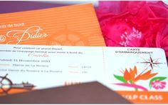Faire part Voyage Billet Croisiere Mariage creation sur mesure /// Wedding invitation by http://www.latelierdelsa.com/fr/6-faire-part-mariage-sur-mesure