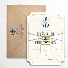 Nautical Waves Wedding Invitations | Smitten on Paper