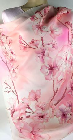 Silk Square Scarf Hand Painted,Batik,Sakura Floral Design, Japanese style, Perfect Gift for her Perfect Gift For Her, Gifts For Her, Pink Orchids, Light Pink Color, Blooming Flowers, Silk Painting, Square Scarf, Scarf Styles, Mother Gifts
