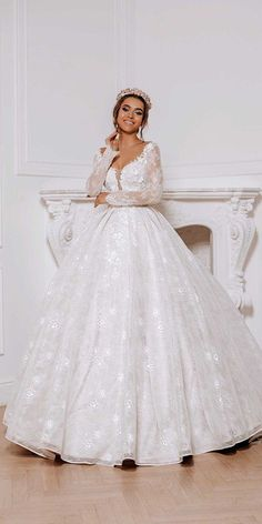 30 Ball Gown Wedding Dresses Fit For A Queen ❤ ball gown wedding dresses sweetheart neckline with long sleeves lace aurora couture #weddingforward #wedding #bride