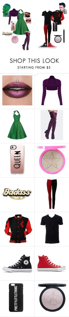 """""""Harley x Joker: Gender Swap"""" by tabathaholguin on Polyvore featuring WearAll, Soda, Casetify, Steve Madden, Simplex Apparel, Converse and Jeffree Star"""
