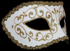 Colombina Brillantina - Masquerade Masks - Gold/White - Men's