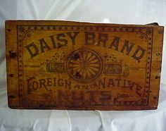 """Daisy Brand """"Foreign and Native"""" Nuts Wooden shipping crate Wooden Crate Boxes, Vintage Wooden Crates, Old Crates, Vintage Tins, Daisy Brand, Wooden Shipping Crates, Old Baskets, Old Boxes, Primitive Antiques"""