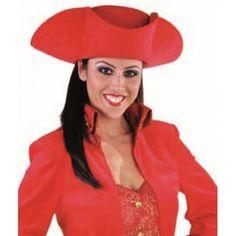 Chapeau tricorne rouge adulte luxe