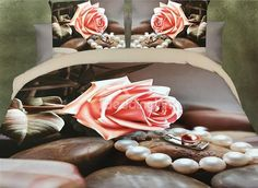 Pink Rose and Pearl Print 4-Piece Polyester #3D Duvet Cover #bedding #bedroom #decor