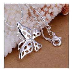 * Penny Deals * - Fashion Jewerly Sterling Silver Plated Elegant Hollow Beautiful Butterfly Pendant 925 * Check out the image by visiting the link.