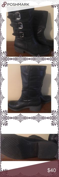 American Rag black boots! EUC. Black leather boots.   Height- 10.5' from sole to top.  Heel Height- 1' American Rag Shoes Combat & Moto Boots