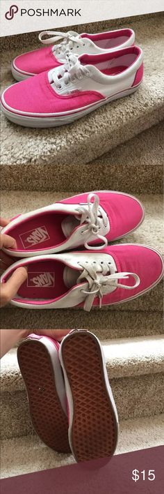 Vans Authentic T381 hot pink sneakers In great used condition, need some light cleaning and will look brand-new. Size 8.5 women Vans Shoes Sneakers