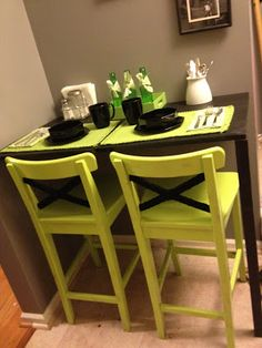 Madcap Frenzy: graphic design, diy, papercrafts and everything in-between: DIY breakfast nook and Ikea stool lime green update