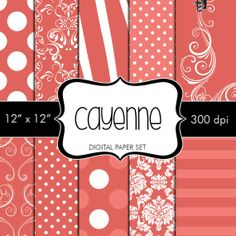 Instant Download Digital Papers Pantone Cayenne Red Set of 10 by HeadsUpGirlsGraphics, $3.00