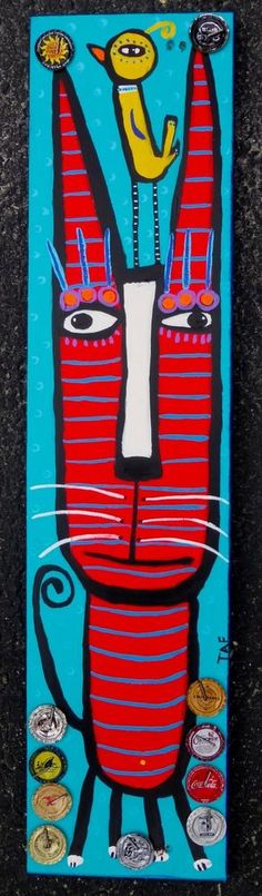 Tracey Ann Finley Original Outsider Folk Painting Red Cat Yellow Bird on Wood NR #OutsiderArt