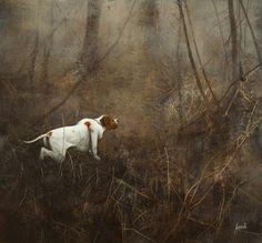 pointer e beccaccia (01) 58x54 cm.Andrea Mazzoli