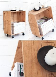 DIY Crate for storage ♥ This would be awesome to store my records and be able to use as a small side table in our itsy bitsy living room space :)