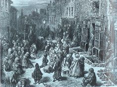 Dudley Street, The Seven Dials district of London, Note the old shoes and boots for sale, and the children are all barefoot. Victorian London, Victorian Era, 19th Century London, London Drawing, London History, British History, London Pictures, Old London, Figurative Art
