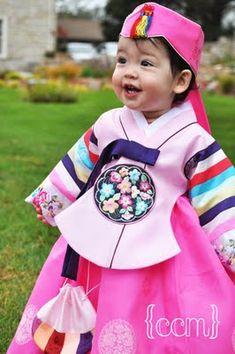 Pink Dol (first birthday) Hanbok - so cute