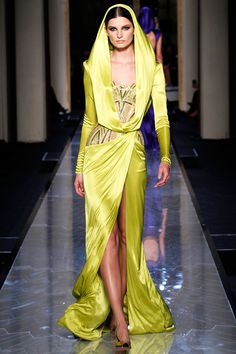Bright Golden Yellow Scarf Gown   Atelier Versace Spring Summer 2014 Couture #Fashion #hc