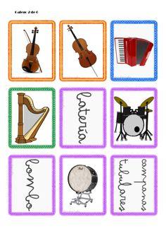 Tarjetas de instrumentos musicales Music Notes, Musicals, Playing Cards, Games, Ideas Para, Piano, Teaching Supplies, Guitar Chords, Music Instruments