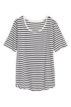 Jersey top: Straight-cut, short-sleeved top in viscose jersey with a rounded hem.