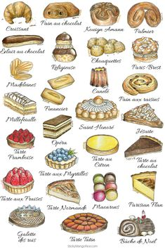 "French pastries and desserts are among those ""must try"" things when visiting Paris. Learn more about French pastries and their names, their history and what's in them. Boutique Patisserie, Patisserie Fine, French Cake, French Food, Cute Food, Yummy Food, Baking Recipes, Dessert Recipes, Gourmet Desserts"