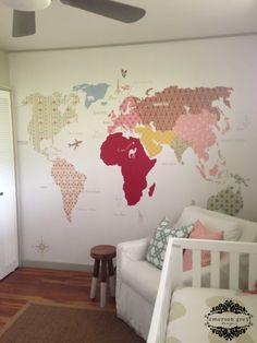 Beautiful girlie wall map! ... Maybe in fabric and iron on the wall?