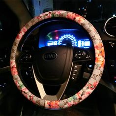 Pu Four Seasons Fashion Car Non-Slip Breathable Steering Wheel Cover Universal Burgundy 15 Inch