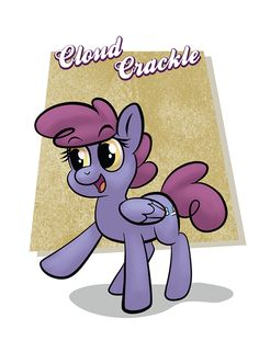 Most people think that Cloud Crackle's name comes from the lightning bolts she makes, but actually it's the name of a cereal she invented.  You can play with Cloud Crackle and all her friends in Horse Party: www.horse-party.com