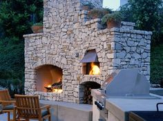 Outdoor Fireplace With Pizza Oven Backyard And Yard Design For