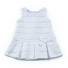 Vestido niña de satelin blanco con cintura baja y falda tableada - Vestidos para Niñas de 2 a 16 Años - Mundo Kiriko