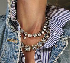   striped dress shirt, denim jacket, statement necklace  