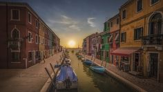 A vista from Burano with a composed sunset.