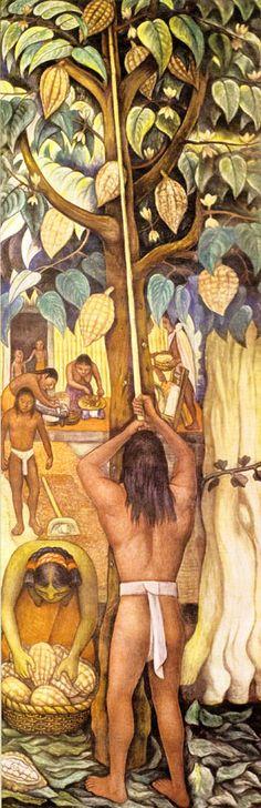 Aztec's harvesting Cacao Pods. Diego Rivera