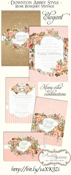 If your wedding theme is particulary lovely or lavish, this design might be for you!  For a modern, yet classic wedding invitation set worthy of even a Victorian, Edwardian or English Manor House, Downton Abbey style wedding!  A beautiful vintage antique English style rose bouquet  in a rich colors have been mixed with modern swirl scroll flourish work and a subtle damask background design pattern.   #downtonabbey #weddings #weddinginvitations #invitation #wedding #roses #elegant #blush…
