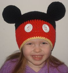 Crocheted MIckey Mouse Hat with White Buttons