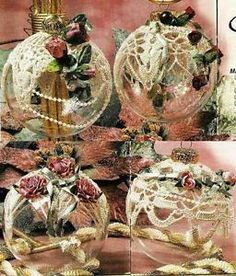 victorian christmas decorations | X101 Crochet Pattern Only 4 Victorian Christmas Ornament Covers | eBay