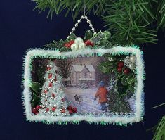 Christmas card shadow box -