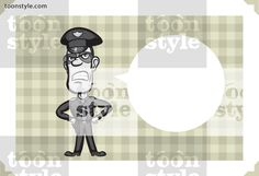 Greeting card with angry policeman – personalize your card with a custom text