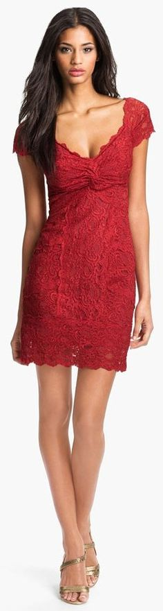 nicole miller red lace dress