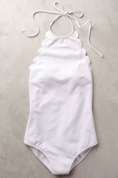 simple scalloped one-piece swimsuit