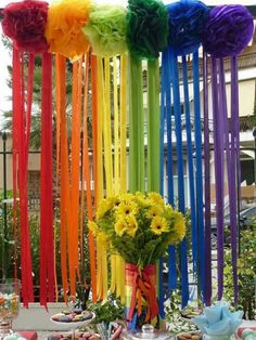 rainbow paper pompoms with streamers Rainbow Loom Party, Rainbow Paper, Rainbow Parties, Rainbow Theme, Rainbow Wedding, Rainbow Decorations, Birthday Decorations, Mexican Party, Fiesta Party