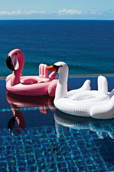 bouées flamant rose et cygne Sunnylife- inflatables flamingo and swan Sunnylife
