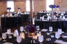 Black and purple wedding reception at The Goei Center.