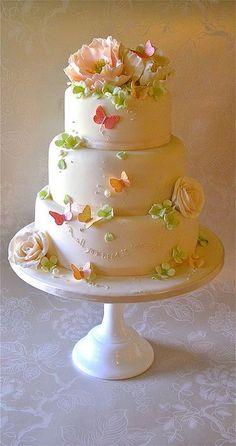 Tartas de Boda - Wedding Cake - Pink,Peach and green wedding cake Gorgeous Cakes, Pretty Cakes, Cute Cakes, Amazing Cakes, Fancy Cakes, Butterfly Cakes, Green Butterfly, Butterfly Birthday, Butterfly Wedding