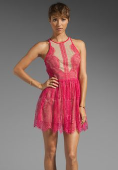 THREE FLOOR Lace Up Dress in Hot Pink/Nude at Revolve Clothing - Free Shipping!